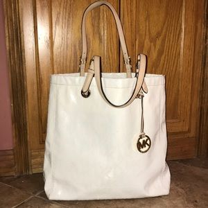 Authentic white Michael Kors hand bag
